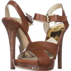 Brown gold platform heels